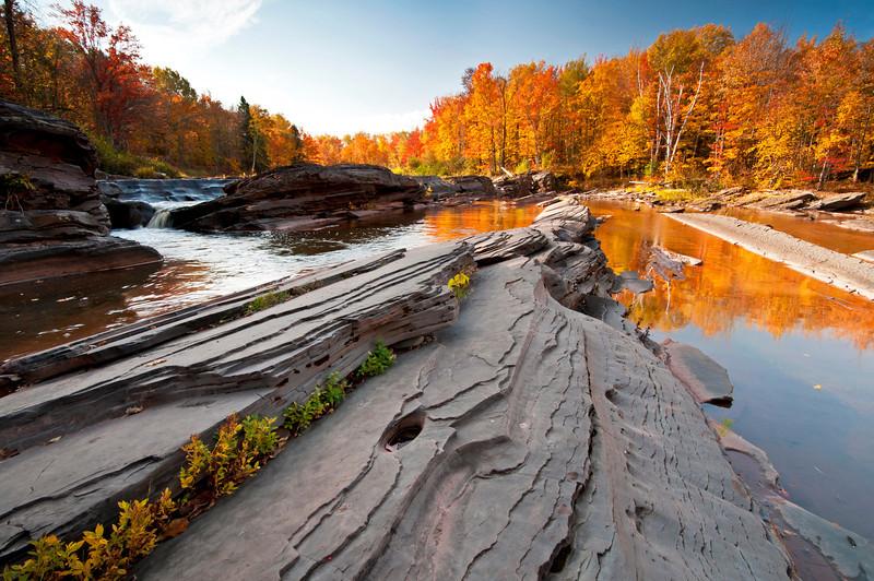 MI 104                         Autumn at Bonanza Falls on the Big Iron River in Michigan's Upper Peninsula.