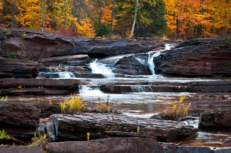 MI 103                             Autumn at Bonanza Falls on the Big Iron River in Michigan's Upper Peninsula.