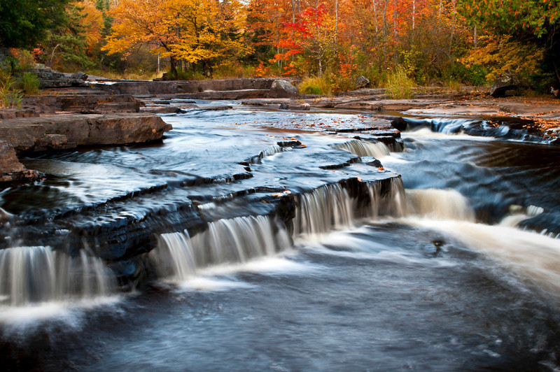 MI 197                      Autumn color at dusk on the Sturgeon River in Michigan's Upper Peninsula.