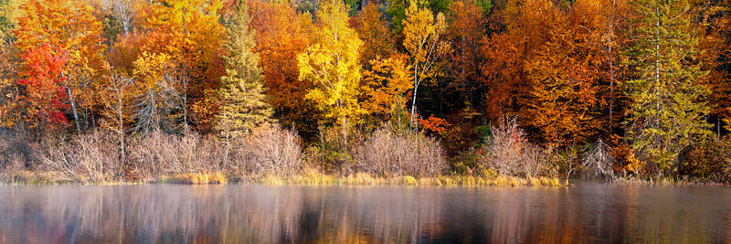 MI 185                        A panoramic view of the fall colors along the Michigamme River in Michigan's Upper Peninsula.