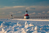 Clumps of ice cover the St. Joseph south channel pier. St. Joseph, MI<br /> <br /> MI-090125-0147