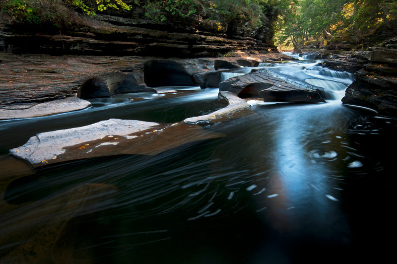 M 126<br /> <br /> The Presque Isle River winds through the Porcupine Mountains Wilerness State Park in Michigan's Upper Peninsula.
