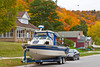 Homes with fall foliage color in Munising, Michigan, USA.