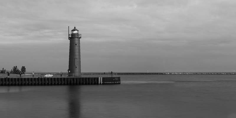 Muskegon South Pierhead Light (Black and White)