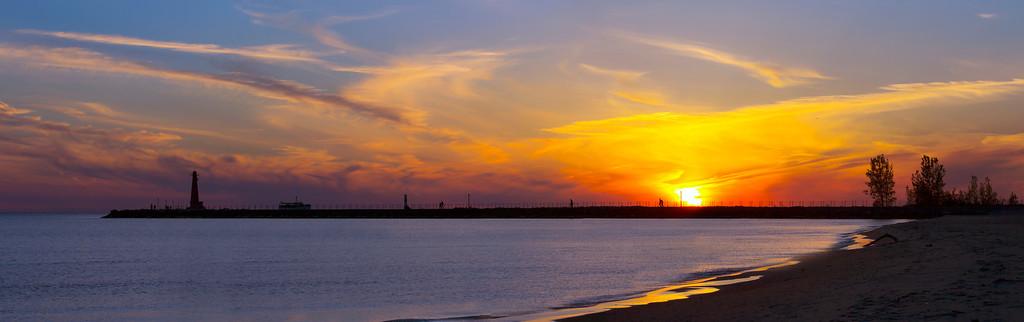 Sunset over South Breakwater, Muskegon
