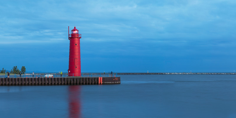 Muskegon Lighthouse and Pier in Evening