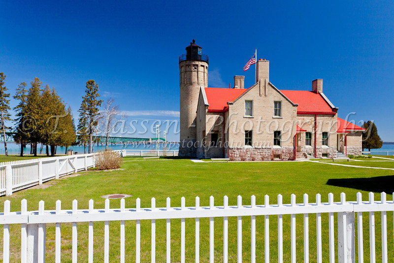 The historic Old Mackinac Point Lighthouse in Mackinaw City, Michigan, USA.