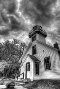 Old Mission Peninsula Lighthouse in Black and White