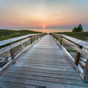 Boardwalk to Lake Michigan in Onekama