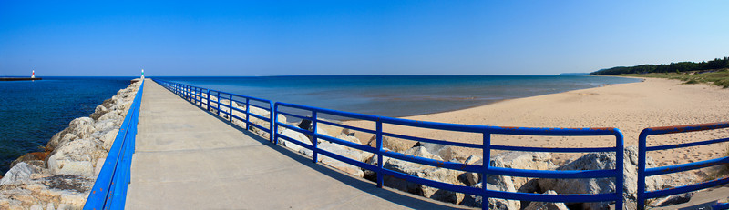 Sunny Day at Onekama Pier and Beach