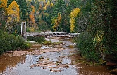 Seasonal Suspense- North Country Trail Bridge (O Kun De Kun Falls Area - Upper Michigan)
