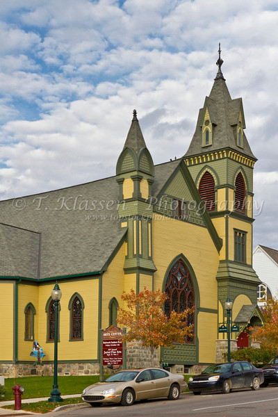 The Crooked Tree Arts Center in a Colonial style former church building in Petoskey, Michigan, USA.
