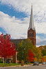 St. Francis Xavier Blessed Sacrament Chapel with fall foliage color in Petoskey, Michigan, USA.