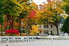 A small park with fall foliage color in Petoskey, Michigan, USA.