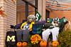 Fall decor scarecrows in Petoskey, Michigan, USA.
