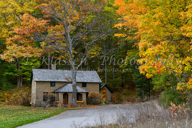 A real estate office building with fall foliage color near Petoskey, Michigan, USA.