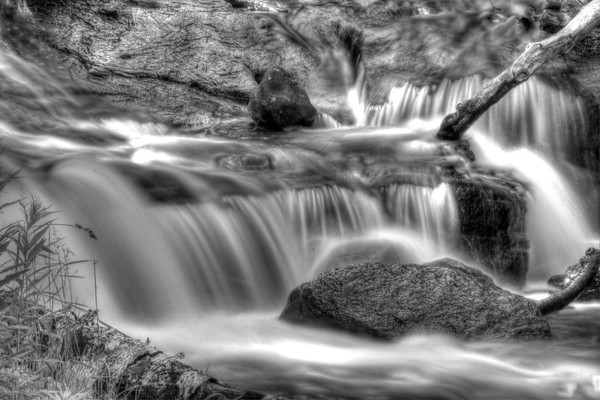 Sable Falls at Pictured Rocks (black and white)