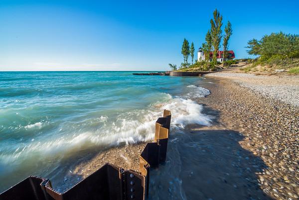 Point Betsie Shoreline and Waves in Summer