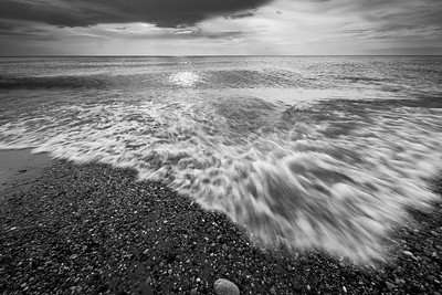 Waves Rolling in Black and White
