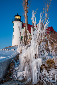 Point Betsie on Ice Vertical