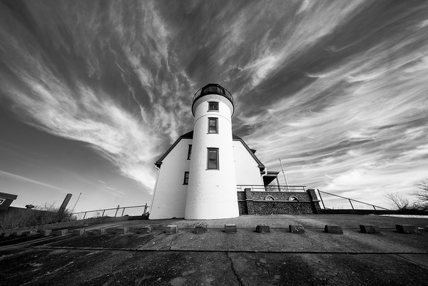 Point Betsie Lighthouse Winter Black and White