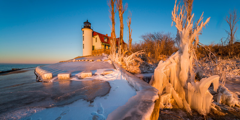 Point Betsie Lighthouse Icy Sunset