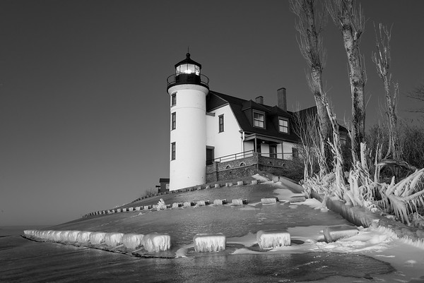 Point Betsie Lighthouse Winter B & W