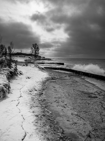 Point Betsie Lighthouse Winter Shore in Black and White