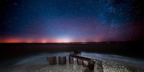 Stars over Point Betsie Breakwall