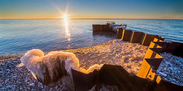 Point Betsie Winter Sunset 2x1