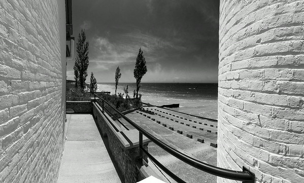 From the Patio at Point Betsie (BW)