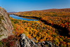 The Porcupine Mountains State Park and the Lake of the Clouds with fall foliage color from the Lake of the Clouds overlook near Ontonagon, Michigan, USA.