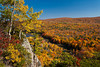 The Porcupine Mountains State Park with fall foliage color from the Lake of the Clouds overlook near Ontonagon, Michigan, USA.