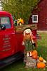 Pumpkins for sale and displayed at the Sturgeon Pumpkin Barn farm near Cross Village, Michigan, USA.