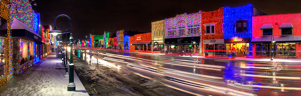 Rochester, Michigan Christmas Lights Panorama