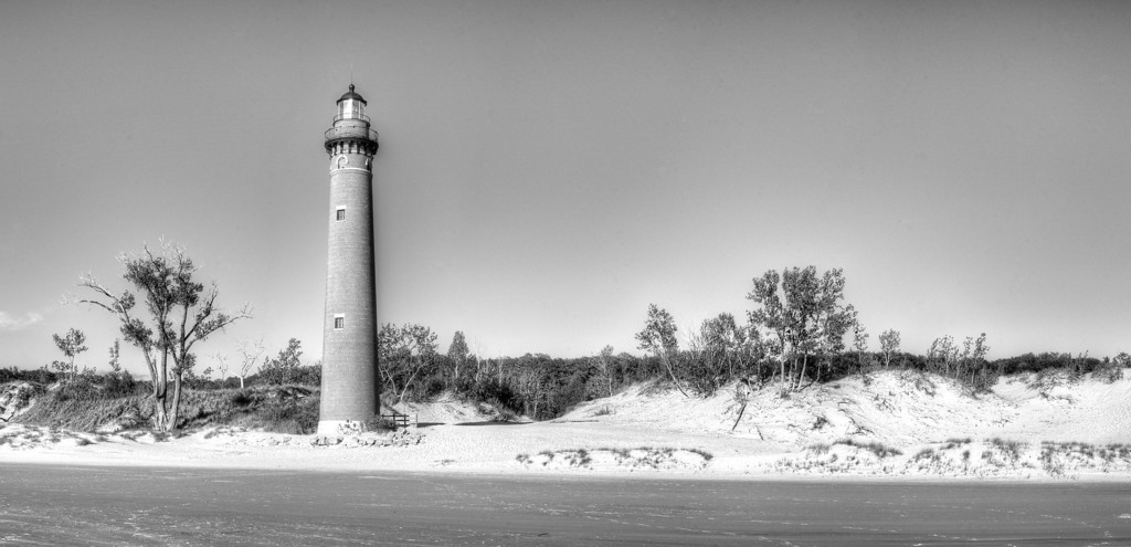 Little Sable Lighthouse in Black and White