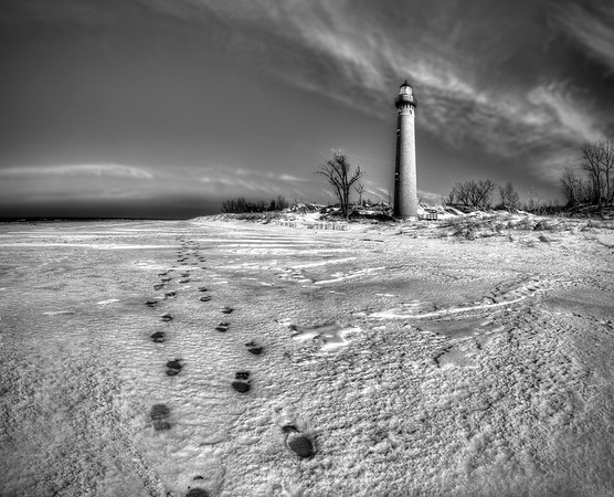 Tracks to little Sable in Black and White