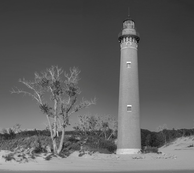 Little Sable Light in Black and White