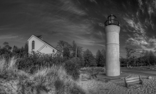 Empire Lighthouse in Black and White