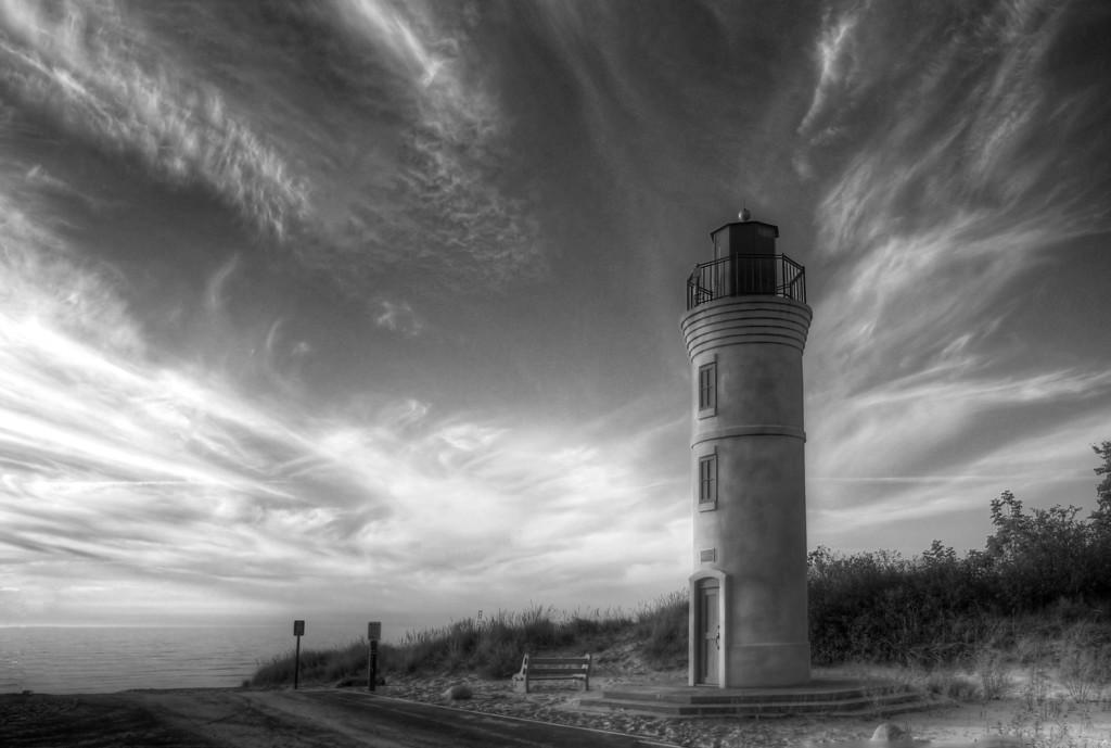 Empire Lighthouse Black and White Sky
