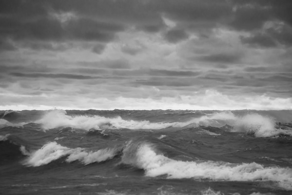 Stormy Waters in Black and White