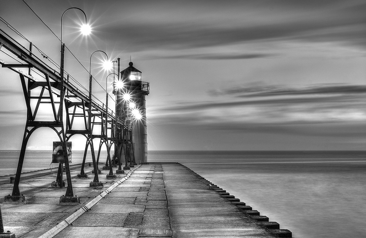 South Haven Light in Black and White