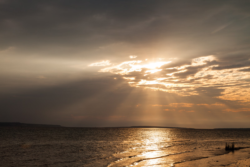 Cloudy sunrise over Lake Huron. Mackinaw City, MI<br /> <br /> MI-110707-0210