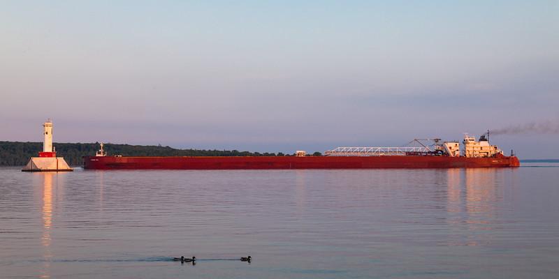 The Presque Isle cargo ship crosses the waters of the Straits of Mackinac. Straits of Mackinac, MI<br /> <br /> MI-090623-0041