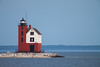 As the daylight starts fading away, the Round Island Light beacon lites up. Straits of Mackinac, MI<br /> <br /> MI-090624-0084