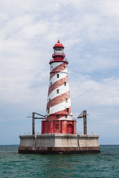 The White Shoal Light, stands on Lake Michigan not far from the Mackinaw Bridge. Its striking candy-cane colors makes this tower one of the most attractive in the area. Lake Michigan<br /> <br /> MI-110707-0198