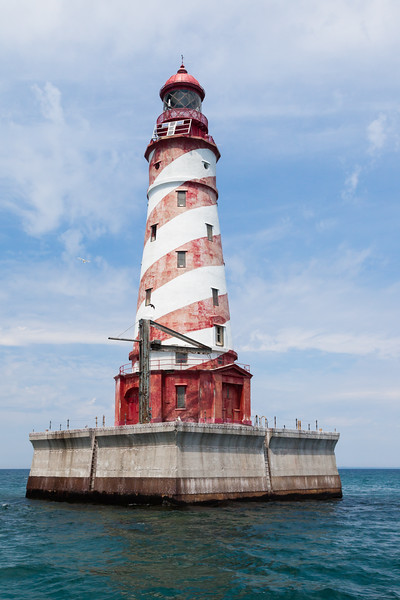 The White Shoal Light, stands on Lake Michigan not far from the Mackinaw Bridge. Its striking candy-cane colors makes this tower one of the most attractive in the area. Lake Michigan<br /> <br /> MI-110707-0209