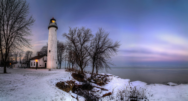 Point Aux Barques Lighthouse in Winter