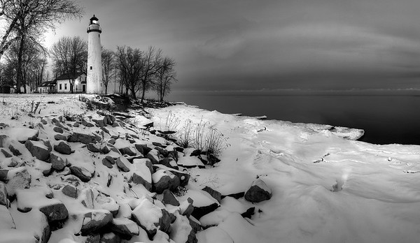 Point Aux Barques Light in Black and White