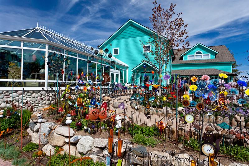 An outdoor garden store in Suttons Bay, Michigan, USA.